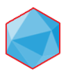 My business icon. It looks like a blue 20-sided die with a red outline.